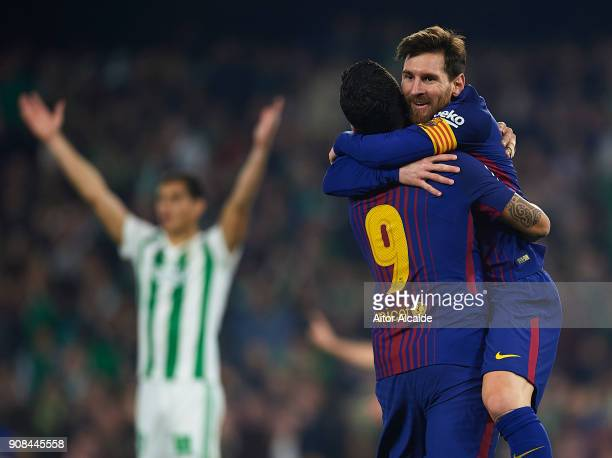 Lionel Messi of FC Barcelona celebrates after scoring the second goal for FC Barcelona with his team mate Luis Suarez of FC Barcelona during the La...