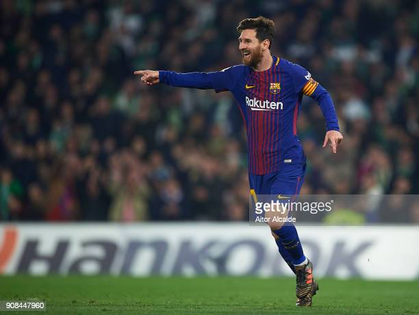 Lionel Messi of FC Barcelona celebrates after scoring the second goal for FC Barcelona during the La Liga match between Real Betis and Barcelona at...