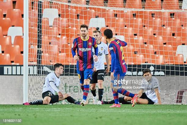 Lionel Messi of FC Barcelona celebrates after scoring their side's first goal during the La Liga Santander match between Valencia CF and FC Barcelona...