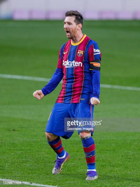 Lionel Messi of FC Barcelona celebrates goal of Antoine Griezmann of FC Barcelona during the La Liga Santander match between FC Barcelona v Osasuna...