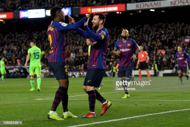 Lionel Messi of FC Barcelona celebrates his goal during the Copa del Rey Round of 16 match between FC Barcelona and Levante at Nou Camp on January 17...