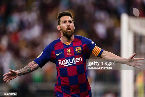 Lionel Messi of FC Barcelona celebrates his goal during the Supercopa de Espana Semi-Final match between FC Barcelona and Club Atletico de Madrid at...