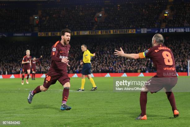 Lionel Messi of FC Barcelona celebrates his goal with Andres Iniesta during the UEFA Champions League Round of 16 First Leg match between Chelsea FC...