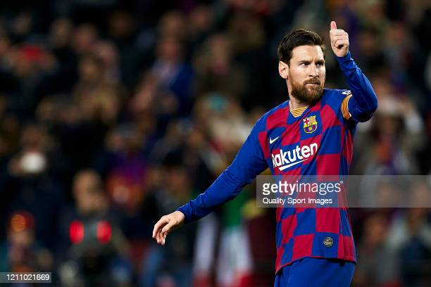 Lionel Messi of FC Barcelona celebrates his team's first goal during the Liga match between FC Barcelona and Real Sociedad at Camp Nou on March 07,...