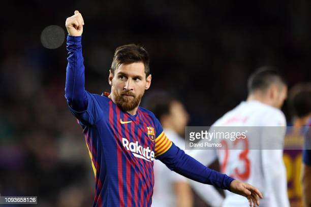 Lionel Messi of FC Barcelona celebrates his team's second goal during the La Liga match between FC Barcelona and SD Eibar at Camp Nou on January 13...