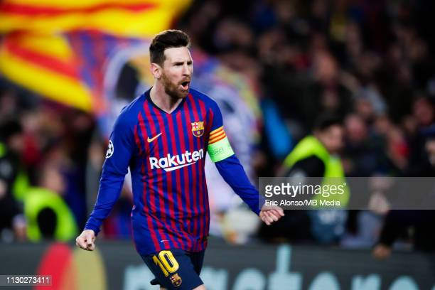 Lionel Messi of FC Barcelona celebrates scoring his side's 3rd goal during the UEFA Champions League Round of 16 Second Leg match between FC...