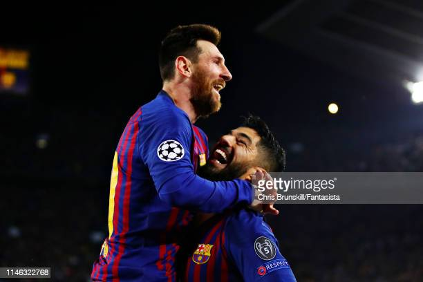 Lionel Messi of FC Barcelona celebrates scoring his sides second goal during the UEFA Champions League Semi Final first leg match between Barcelona...