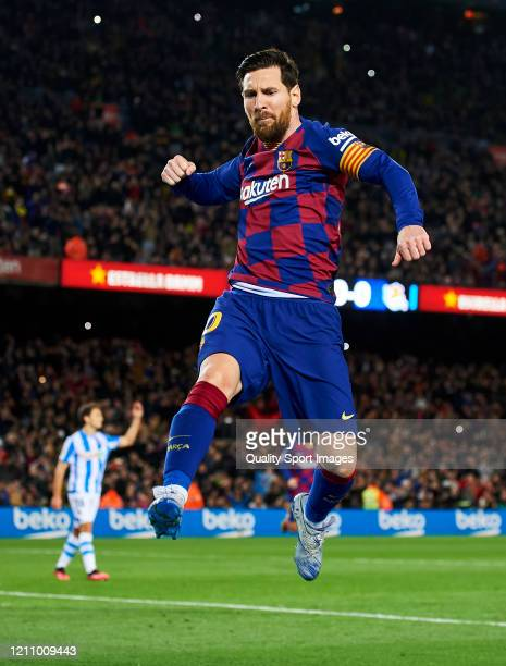 Lionel Messi of FC Barcelona celebrates scoring his team's goal during the Liga match between FC Barcelona and Real Sociedad at Camp Nou on March 07,...