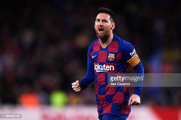 Lionel Messi of FC Barcelona celebrates scoring his team's second goal during the La Liga match between FC Barcelona and RC Celta de Vigo at Camp Nou...