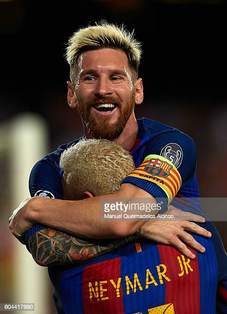 Lionel Messi of FC Barcelona celebrates scoring his team's second goal with his teammate Neymar JR during the UEFA Champions League Group C match...