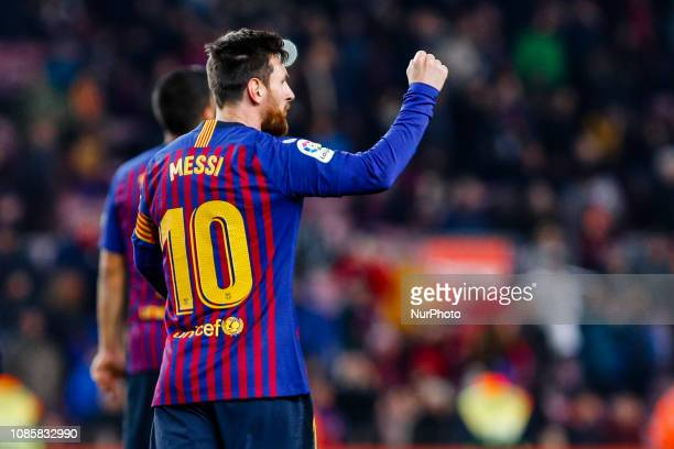 Lionel Messi of FC Barcelona celebrates scoring the goal during the match FC Barcelona against CD Leganes for the round 20 of the Liga Santander...