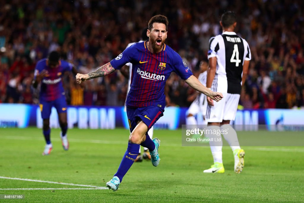 Lionel Messi of FC Barcelona celebrates scoring the opening goal during the UEFA Champions League Group D match between FC Barcelona and Juventus at Camp Nou on September 12, 2017 in Barcelona, Spain.