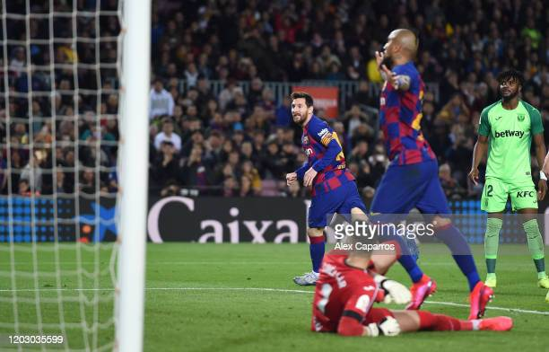Lionel Messi of FC Barcelona celebrates scoring the third goal during the Copa del Rey Round of 16 match between FC Barcelona and CD Leganes at Camp...