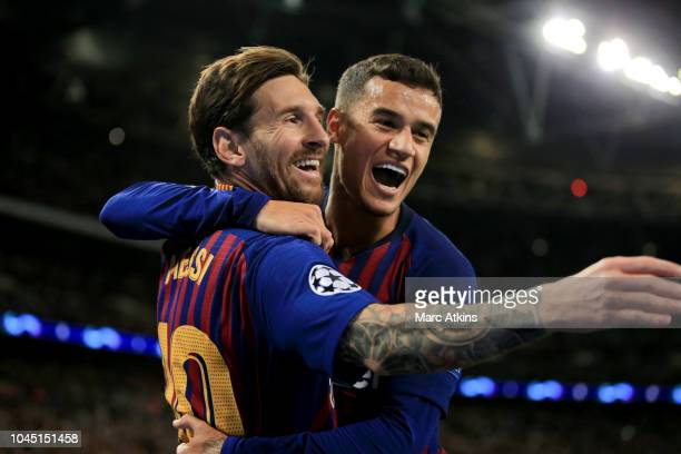 Lionel Messi of FC Barcelona celebrates scoring their 3rd goal with Philippe Coutinho during the Group B match of the UEFA Champions League between...