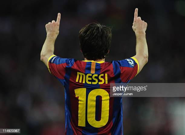 Lionel Messi of FC Barcelona celebrates scoring their second goal during the UEFA Champions League final between FC Barcelona and Manchester United...