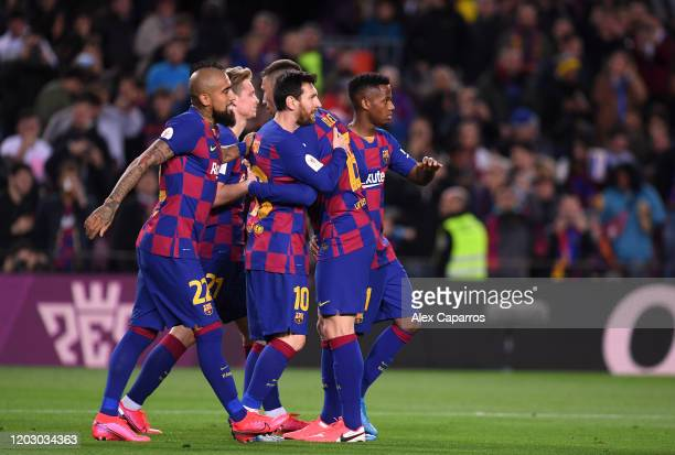 Lionel Messi of FC Barcelona celebrates the third goal with team mates during the Copa del Rey Round of 16 match between FC Barcelona and CD Leganes...