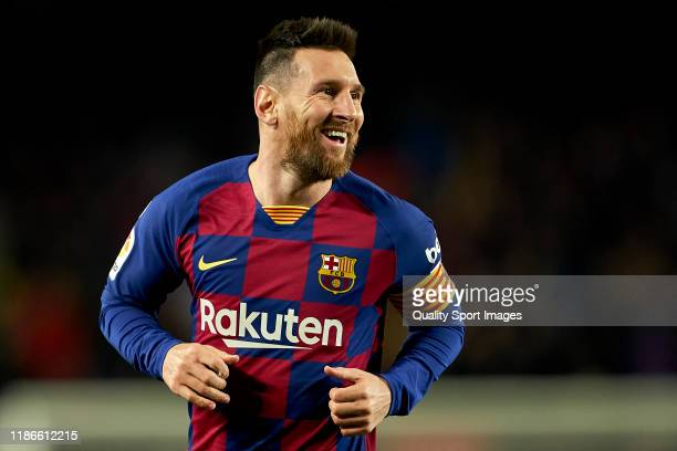Lionel Messi of FC Barcelona celebrates their team's third goal during the Liga match between FC Barcelona and RC Celta de Vigo at Camp Nou on...