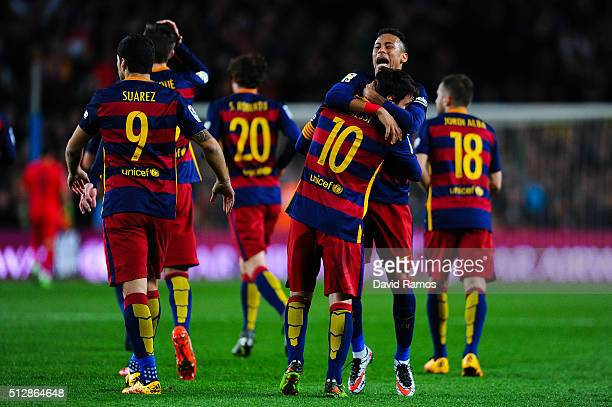 Lionel Messi of FC Barcelona celebrates with his team mate Neymar of FC Barcelona after scoring his team's first goal during the La Liga match...