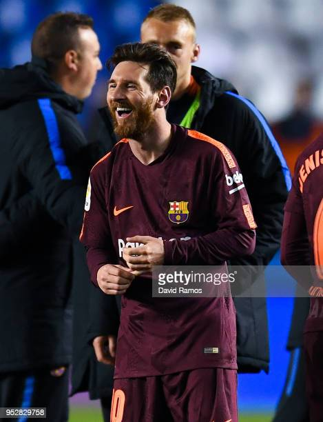 Lionel Messi of FC Barcelona celebrates with his team mates winning La Liga title after the La Liga match between Deportivo La Coruna and Barcelona...