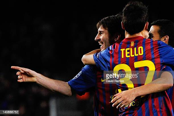 Lionel Messi of FC Barcelona celebrates with his teammate Cristian Tello of FC Barcelona after scoring his fifth goal seventh of FC Barcelona during...