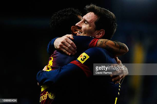 Lionel Messi of FC Barcelona celebrates with his teammate Dani Alves of FC Barcelona after scoring his team's fourth goalduring the Copa del Rey...