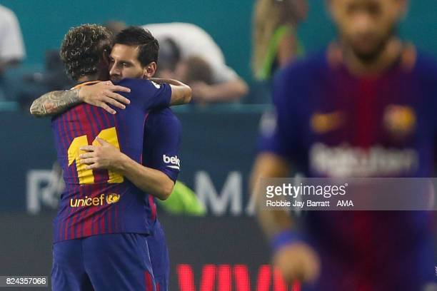 Lionel Messi of FC Barcelona celebrates with Neymar of FC Barcelona after scoring a goal to make it 01 during the International Champions Cup 2017...