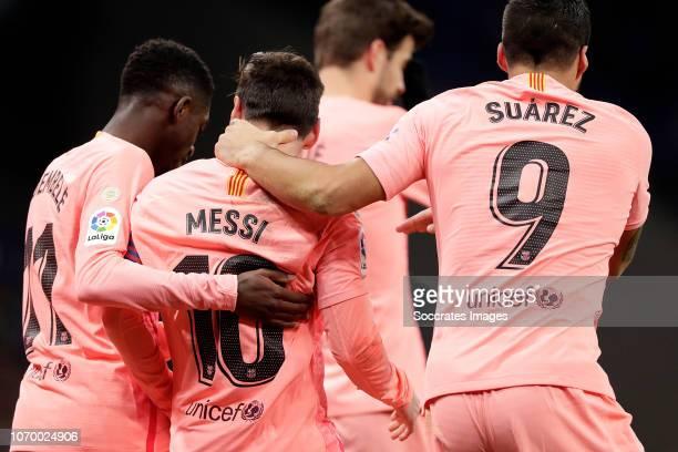 Lionel Messi of FC Barcelona celebrates with Ousmane Dembele of FC Barcelona Luis Suarez of FC Barcelona during the La Liga Santander match between...