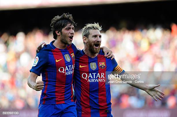 Lionel Messi of F.C. Barcelona celebrates with with Sergi Roberto scoring during the Spanish League match between F.C Barcelona vs Real Betis...
