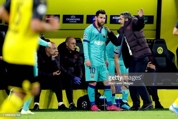 Lionel Messi of FC Barcelona, coach Ernesto Valverde of FC Barcelona during the UEFA Champions League match between Borussia Dortmund v FC Barcelona...