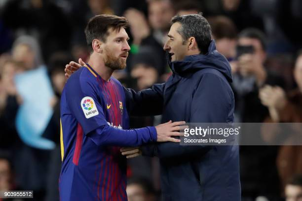 Lionel Messi of FC Barcelona coach Ernesto Valverde of FC Barcelona during the Spanish Copa del Rey match between FC Barcelona v Celta de Vigo at the...