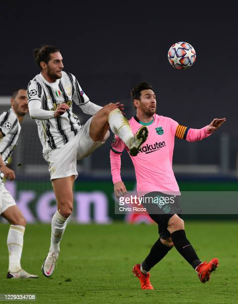 Lionel Messi of FC Barcelona competes for the ball against Adrien Rabiot of Juventus during the UEFA Champions League Group G stage match between...