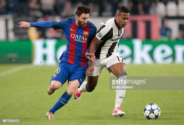 Lionel Messi of FC Barcelona competes for the ball with Alex Sandro of Juventus FC during the UEFA Champions League Quarter Final first leg match...