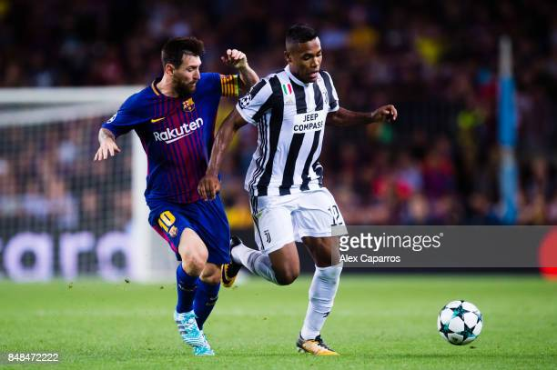 Lionel Messi of FC Barcelona competes for the ball with Alex Sandro of Juventus during the UEFA Champions League group D match between FC Barcelona...