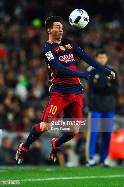 Lionel Messi of FC Barcelona controls the ball during the Copa del Rey Round of 16 first leg match between FC Barcelona and RCD Espanyol at Camp Nou...