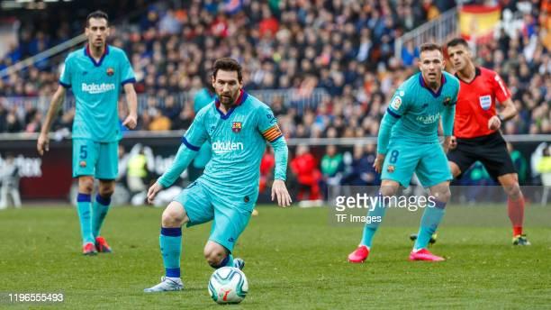Lionel Messi of FC Barcelona controls the ball during the La Liga Santander match between Valencia v FC Barcelona at the Estadio de Mestalla on...