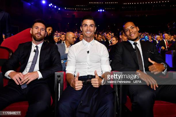 Lionel Messi of FC Barcelona, Cristiano Ronaldo of Juventus and Virgil van Dijk of Liverpool pose for a photo during the UEFA Champions League Draw,...