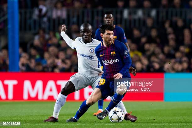 Lionel Messi of FC Barcelona dribbles N'Golo Kante of Chelsea FC during the UEFA Champions League Round of 16 Second Leg match between FC Barcelona...