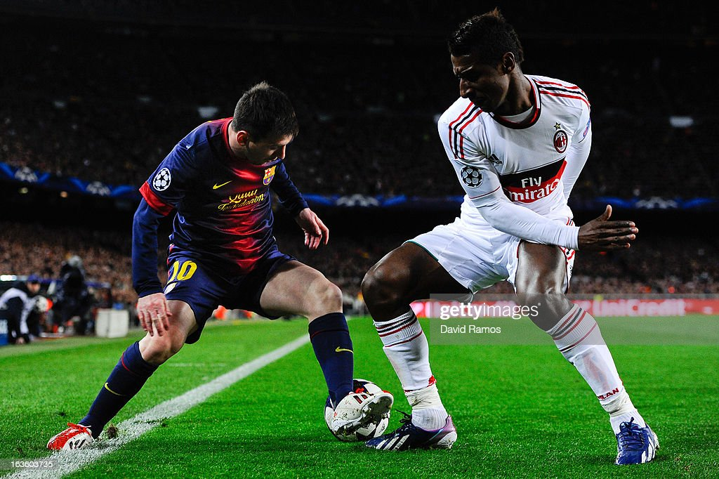 Lionel Messi of FC Barcelona (L) duels for the ball with Kevin Constant of AC Milan during the UEFA Champions League round of 16 second leg match between FC Barcelona and AC Milan at the Camp Nou Stadium on March 12, 2013 in Barcelona, Spain. FC Barcelona won 4-0.