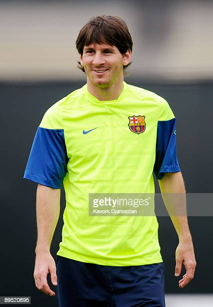 Lionel Messi of FC Barcelona during a practice session at the UCLA Campus on July 30 2009 in Los Angeles California FC Bracelona will play a friendly...