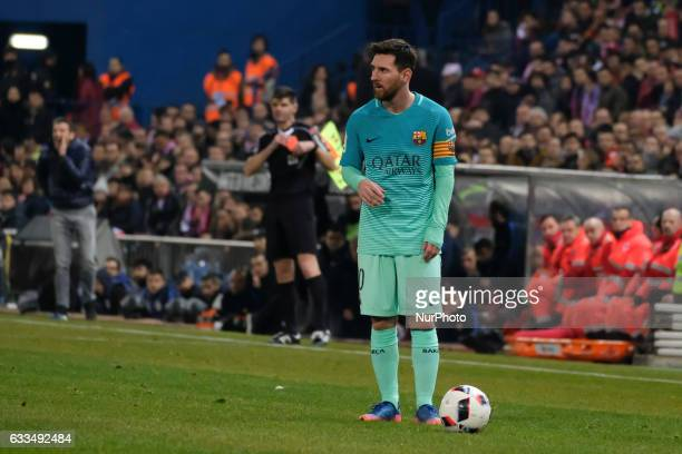 Lionel Messi of FC Barcelona during Copa Del Rey Semifinal first Leg match between Atletico Madrid v FC Barcelona at Vicente Calderon on February 01...