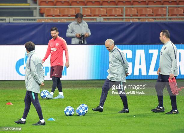 Lionel Messi of FC Barcelona during the FC Barcelona training session at San Siro Stadium on November 5 2018 in Milan Italy