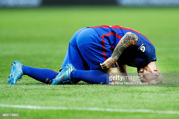 Lionel Messi of FC Barcelona during the International Champions Cup match between Leicester City FC and FC Barcelona at Friends arena on August 3...