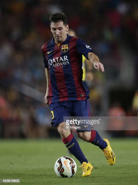 Lionel Messi of FC Barcelona during the Joan Gamper Trophy match between FC Barcelona and Leon FC at Camp Nou on august 18 2014 in Barcelona Spain