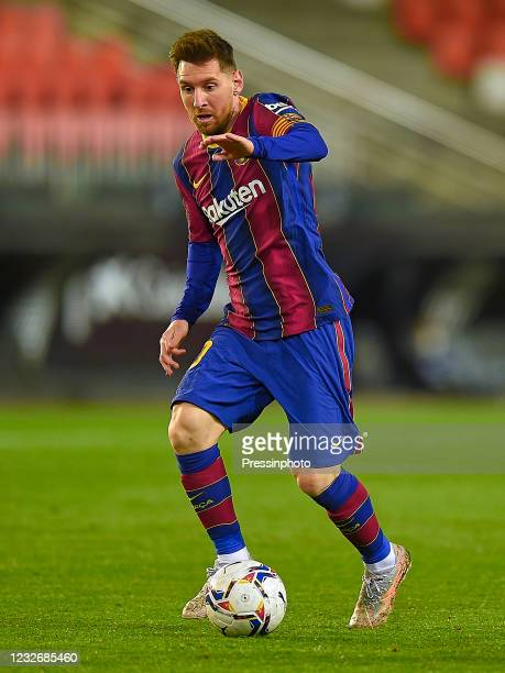 Lionel Messi of FC Barcelona during the La Liga match between Valencia CF and FC Barcelona played at Mestalla Stadium on May 2, 2021 in Valencia,...