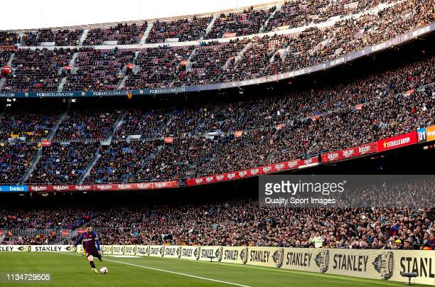 Lionel Messi of FC Barcelona during the La Liga match between FC Barcelona and Rayo Vallecano de Madrid at Camp Nou on March 09 2019 in Barcelona...