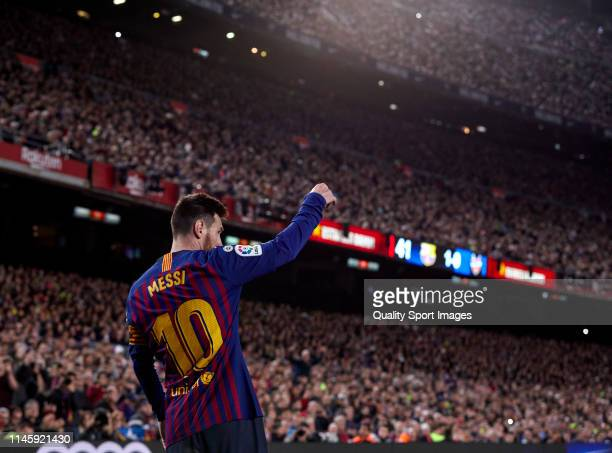 Lionel Messi of FC Barcelona during the La Liga match between FC Barcelona and Levante UD at Camp Nou on April 27 2019 in Barcelona Spain