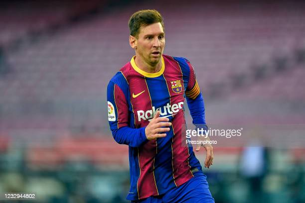 Lionel Messi of FC Barcelona during the La Liga match between FC Barcelona and RC Celta played at Camp Nou Stadium on May 16, 2021 in Barcelona,...