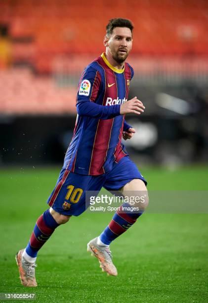 Lionel Messi of FC Barcelona during the La Liga Santander match between Valencia CF and FC Barcelona at Estadio Mestalla on May 02, 2021 in Valencia,...
