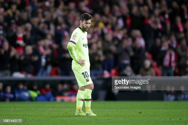 Lionel Messi of FC Barcelona during the La Liga Santander match between Athletic de Bilbao v FC Barcelona at the Estadio San Mames on February 10...