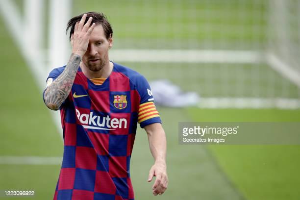 Lionel Messi of FC Barcelona during the La Liga Santander match between Celta de Vigo v FC Barcelona at the Estadio de Balaidos on June 27 2020 in...